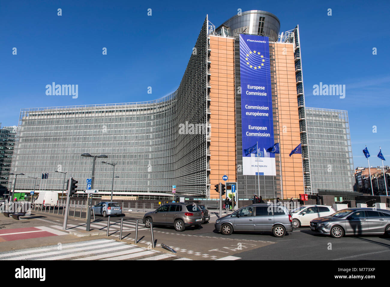European Commission building, Berlaymont building, Brussels, Belgium, - Stock Image
