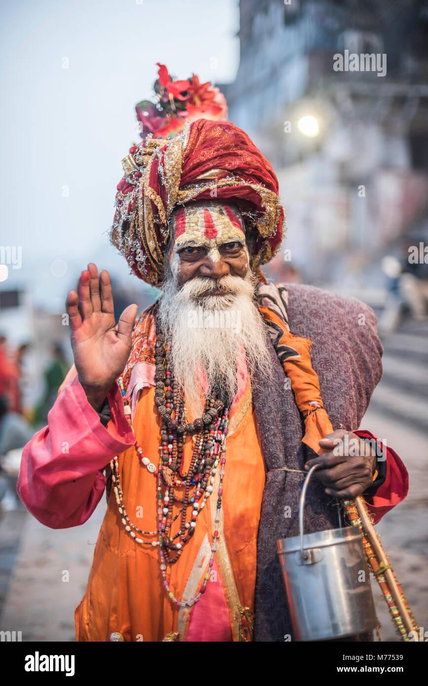 Sadhu (Indian Holy Man) in Varanasi, Uttar Pradesh, India, Asia Stock Photo
