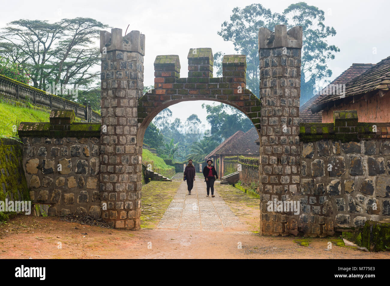Entrance to Fon's palace, Bafut, Cameroon, Africa - Stock Image