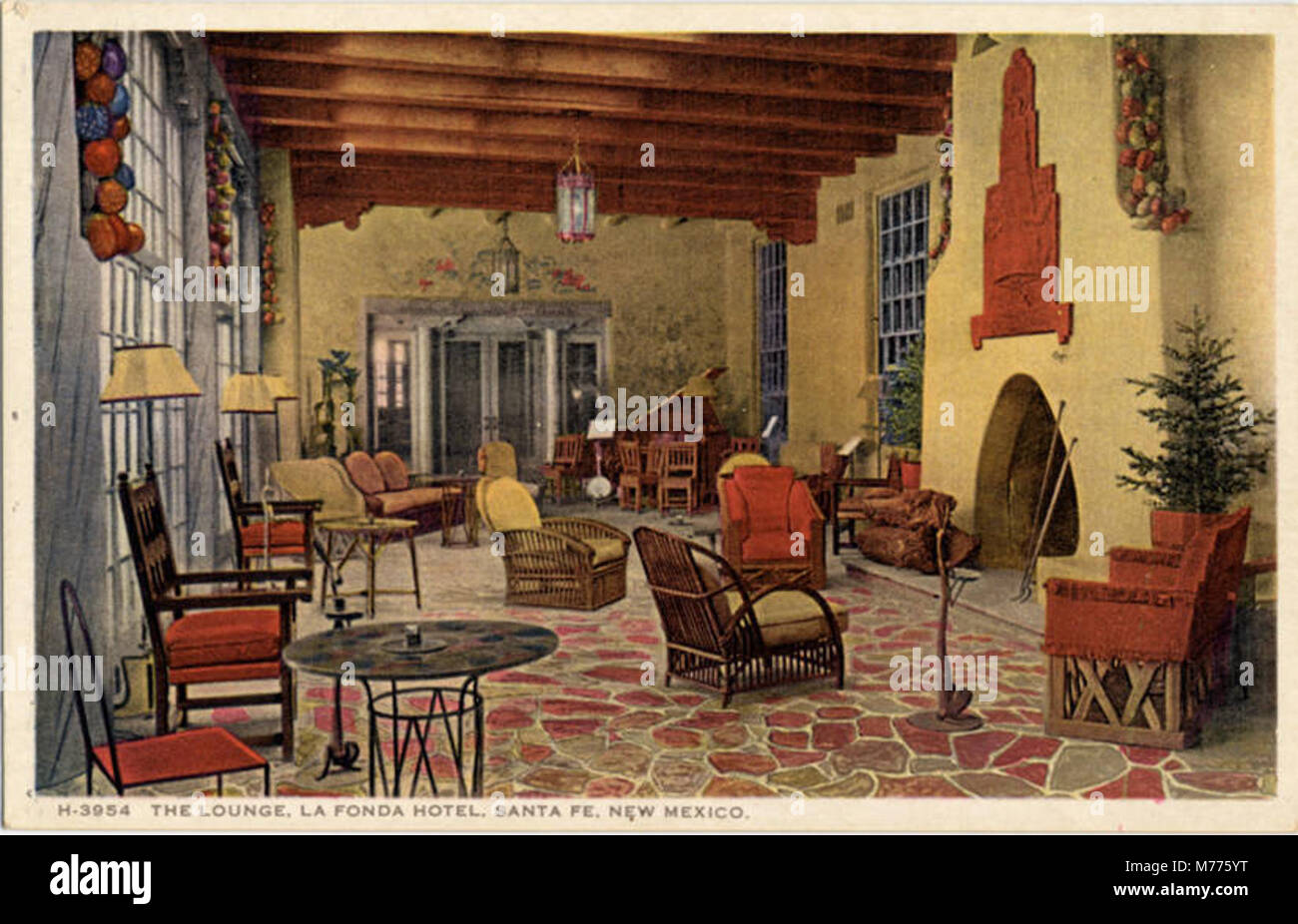 the lounge la fonda hotel fred harvey nby 18163 stock photo