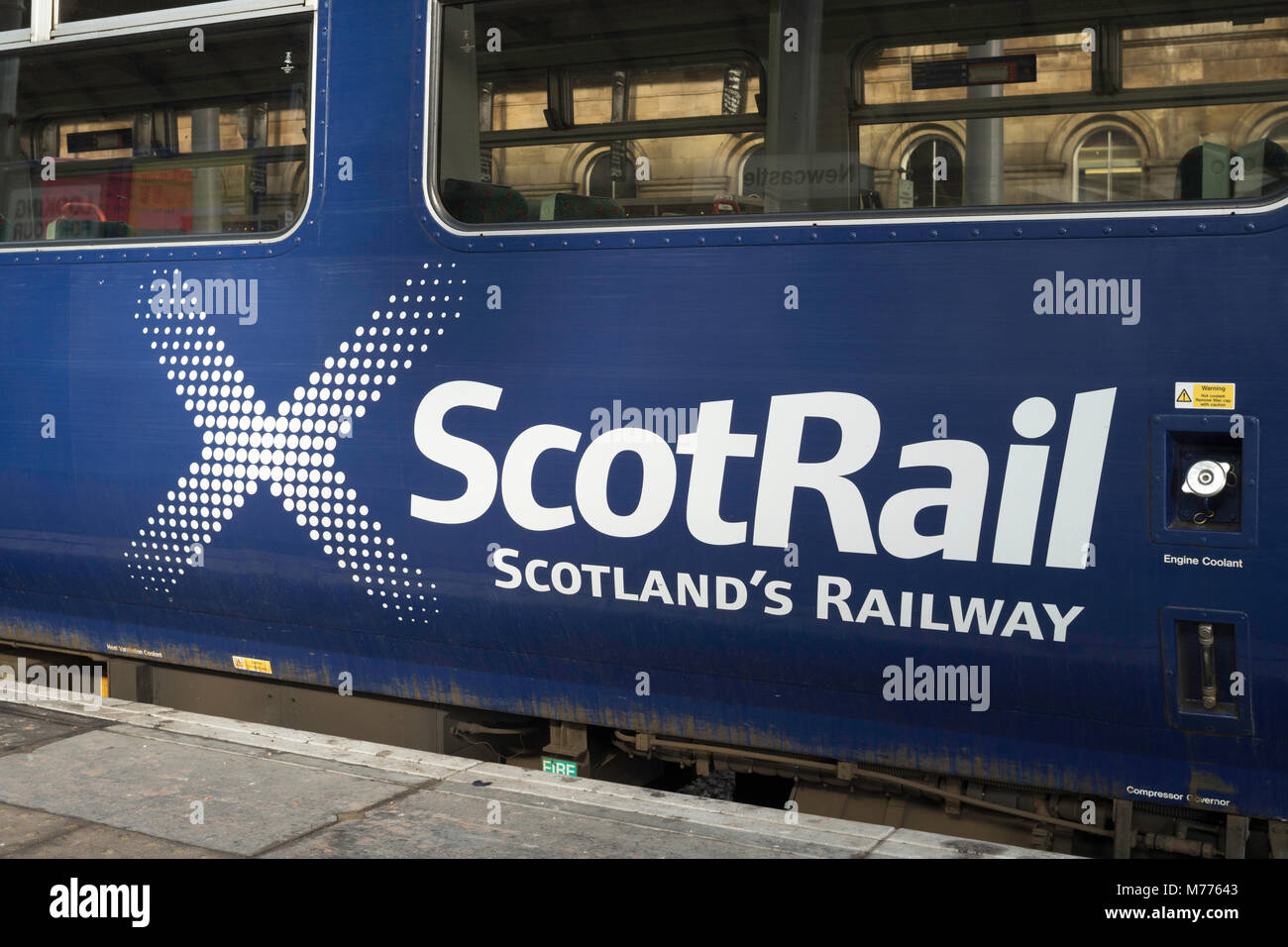 ScotRail logo on the side of a carriage, Scotland's Railway. - Stock Image