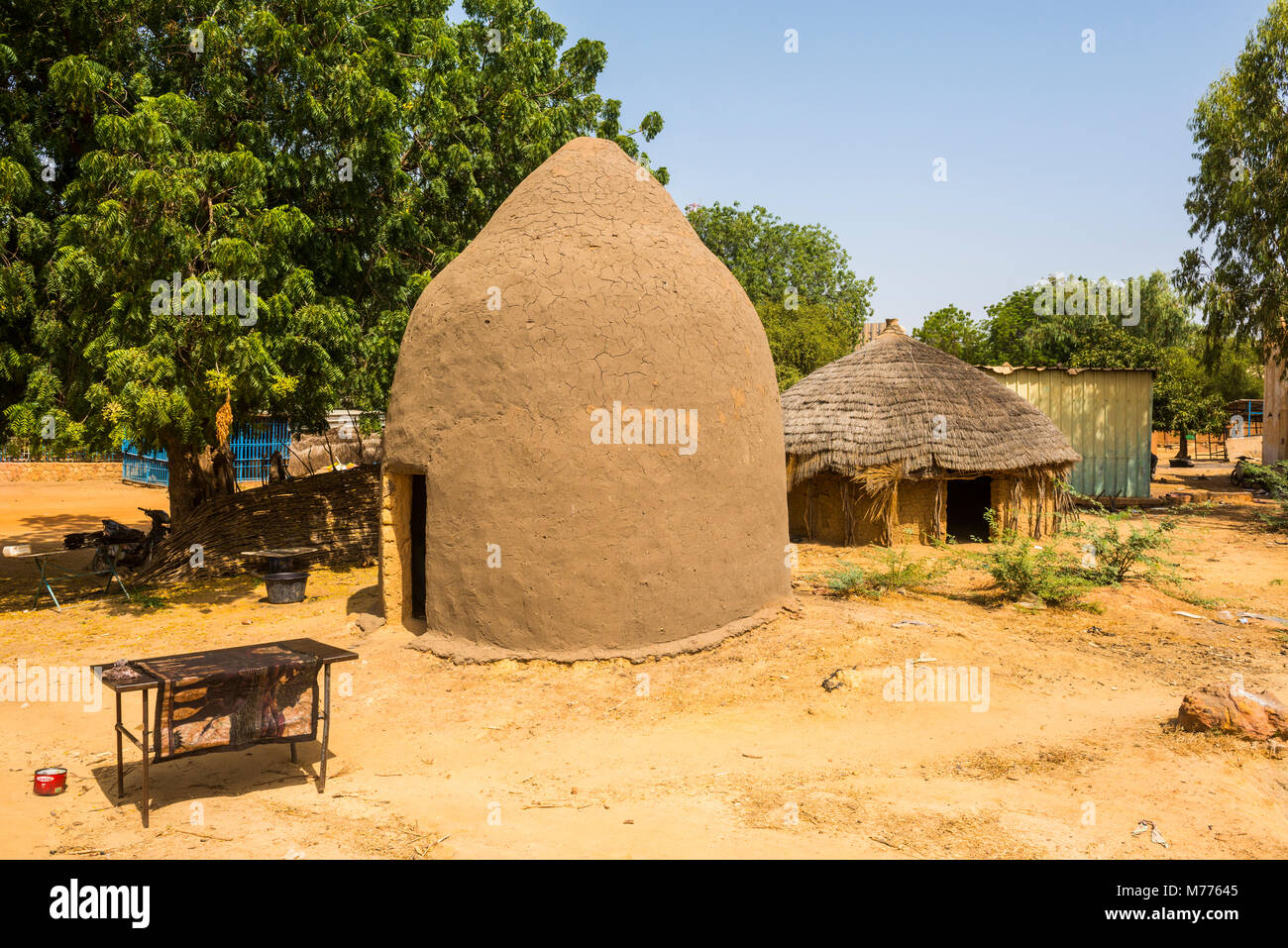 Traditional hut in the National Museum, Niamey, Niger, Africa - Stock Image