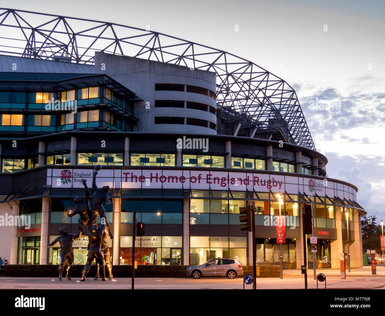 Twickenham Rugby Stadium dusk, Greater London, England, United Kingdom, Europe - Stock Image