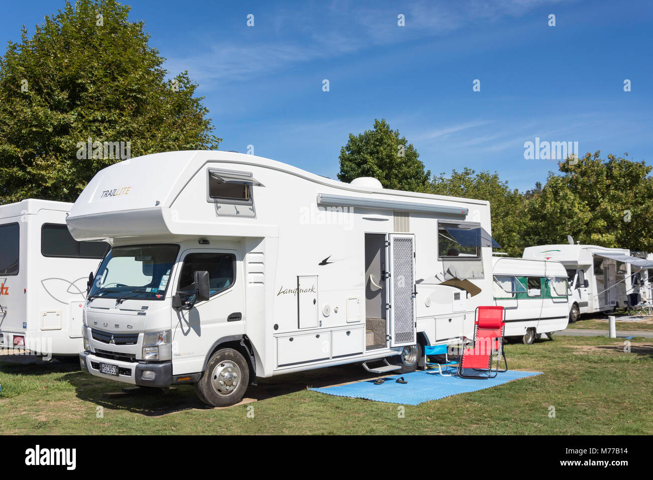 TrailLite Motorhome in campsite at Kaiteriteri Recreation Reserve, Kaiteriteri Beach, Kaiteriteri, Tasman District, - Stock Image