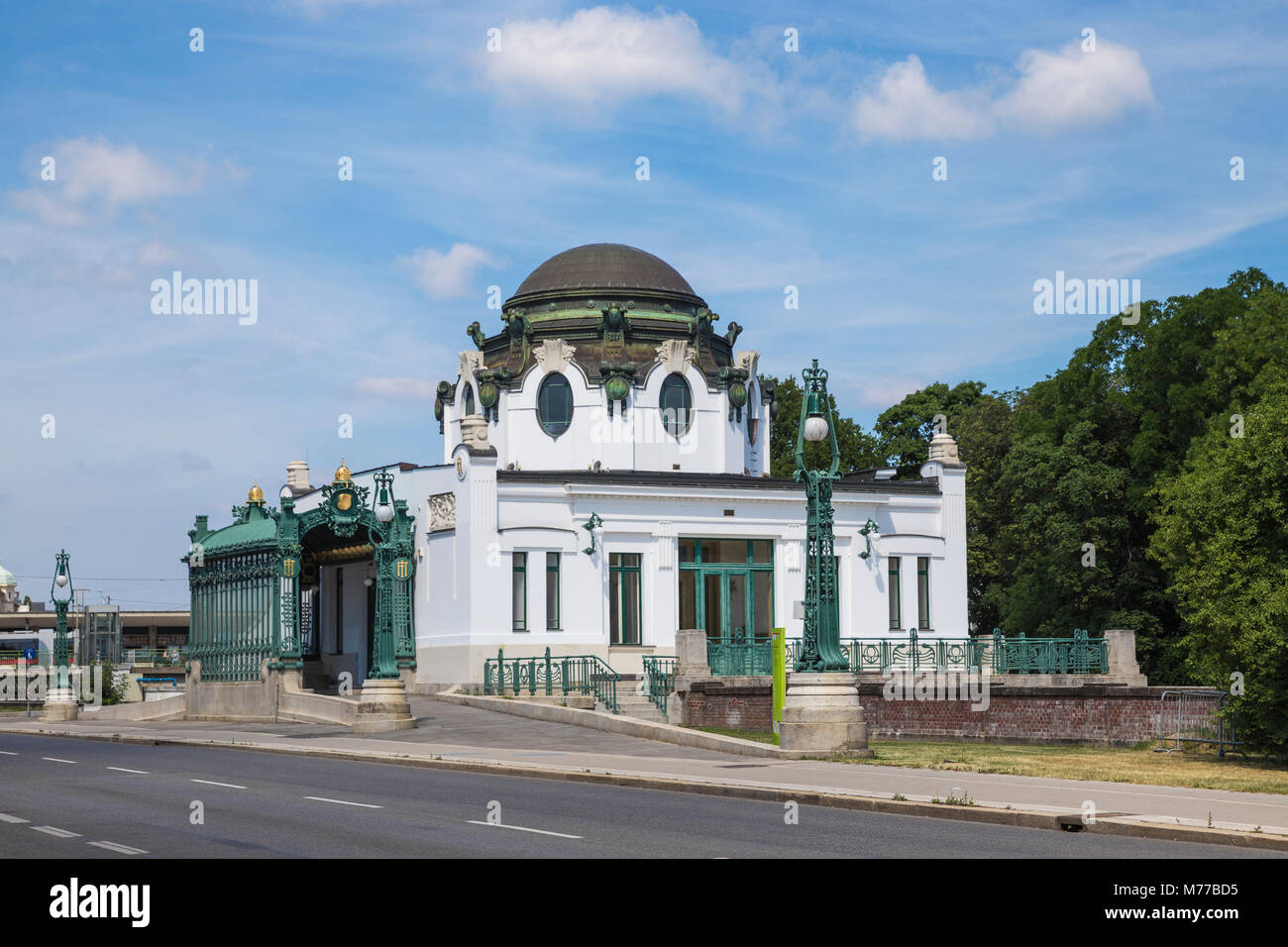Otto Wagner's Imperial Court Pavilion at Hietzing station, Vienna, Austria, Europe - Stock Image
