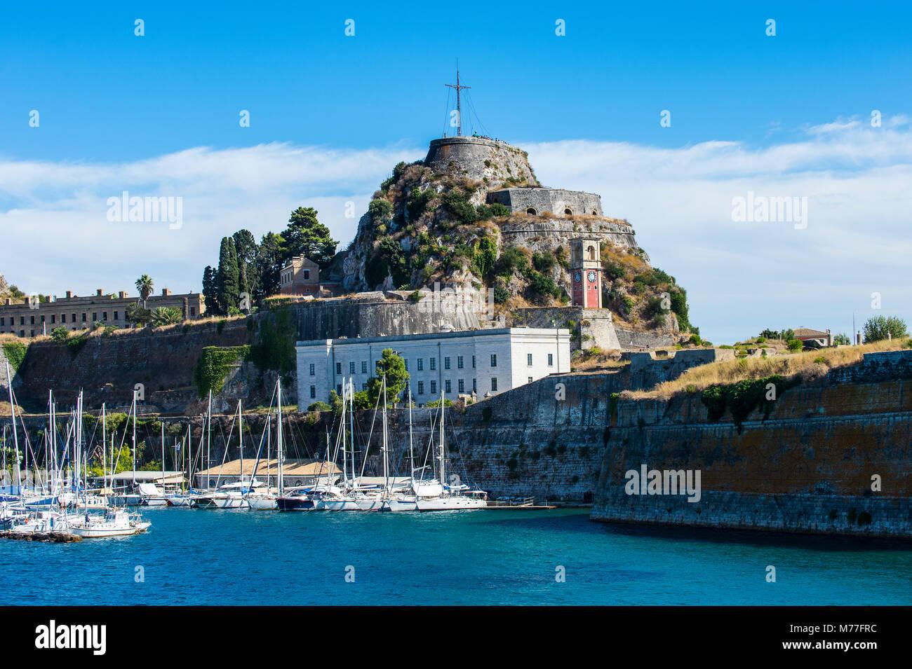 Old Fortress of Corfu town, Corfu, Ionian Islands, Greek Islands, Greece, Europe - Stock Image