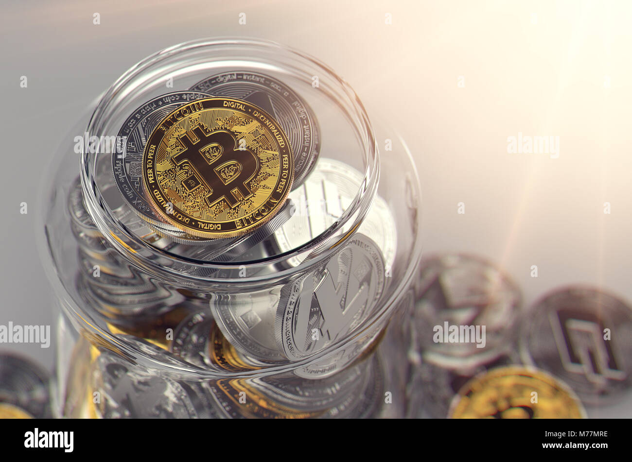 Jar full of cryptocurrencies with golden Bitcoin on the top and sun rays. Virtual wallet creative concept. Realistic - Stock Image