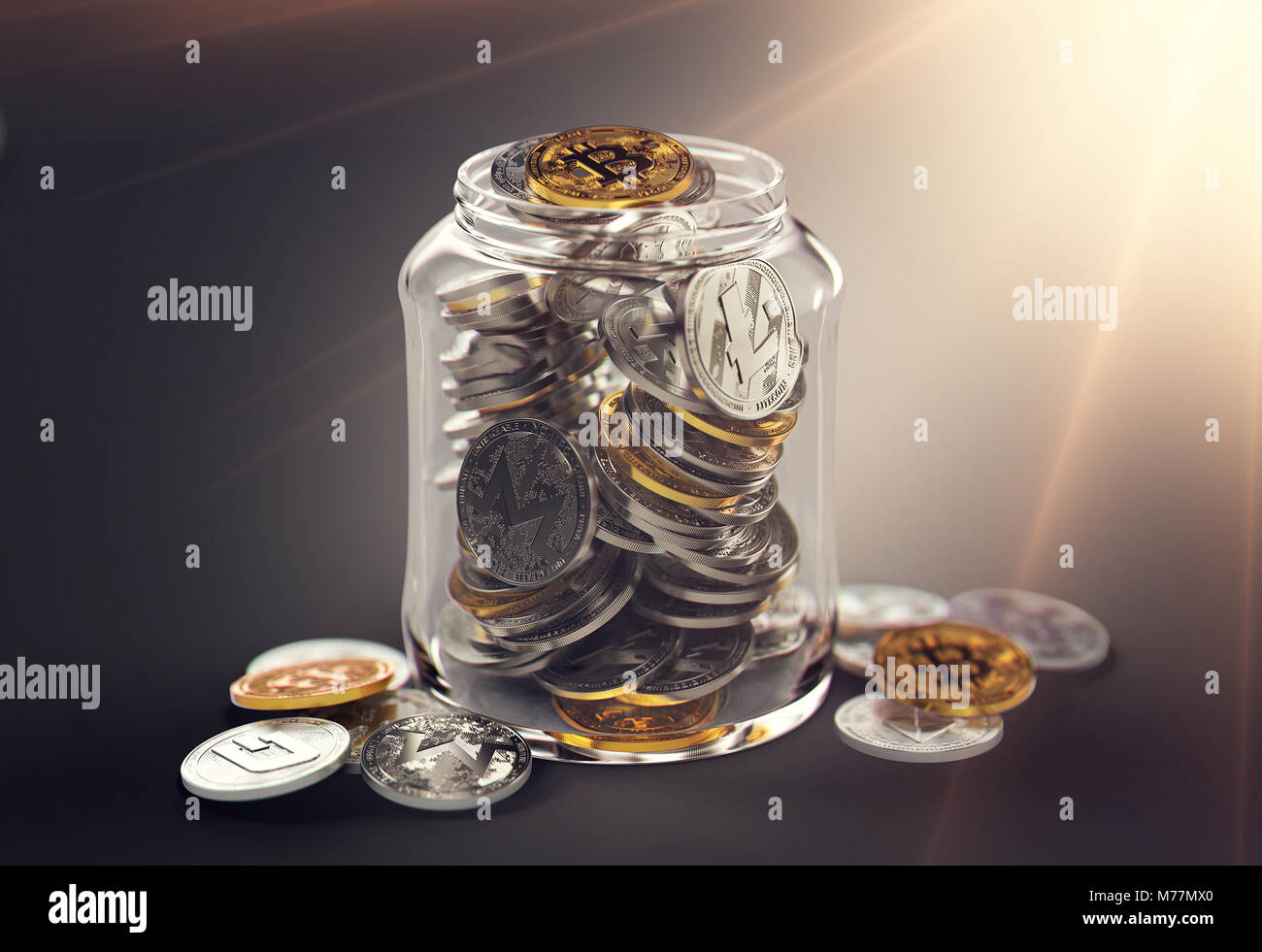 Different cryptocurrencies in a jar with bright sun flare. Saving for retirement with cryptocurrencies concept. - Stock Image