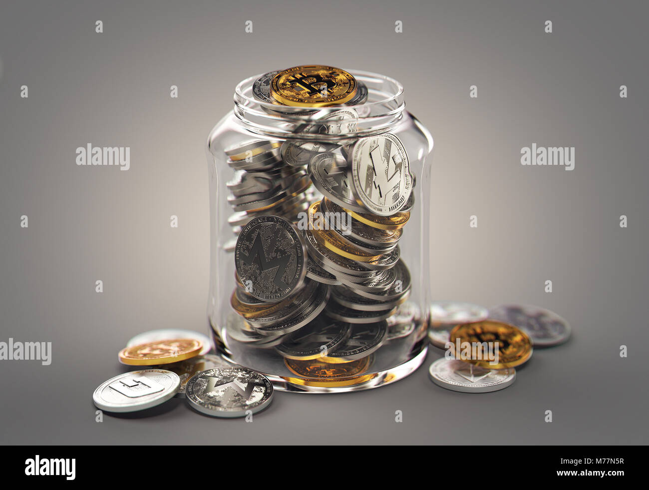 Different cryptocurrencies in a jar. Storing virtual savings concept. Realistic 3D rendering - Stock Image