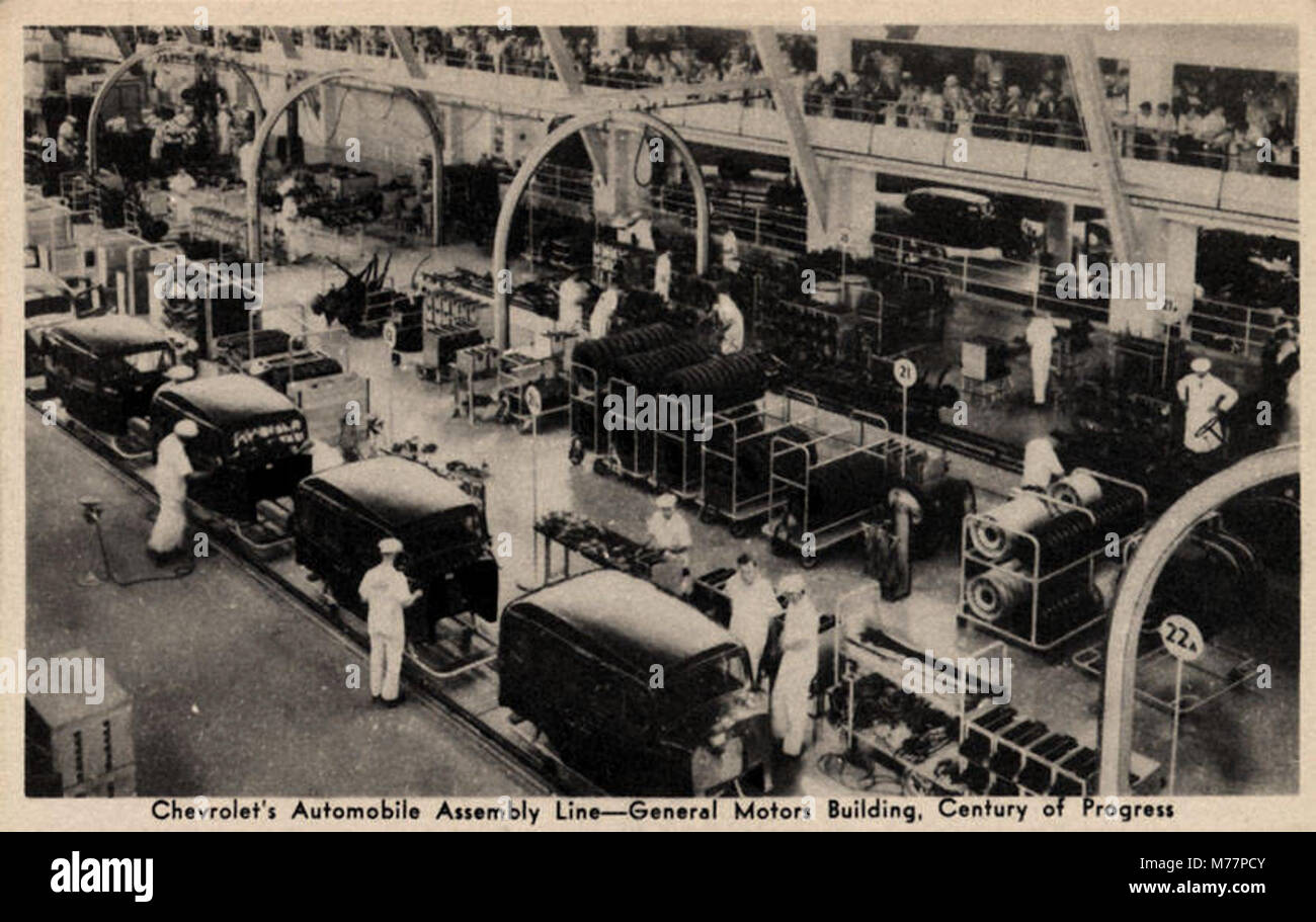 Chevrolets Automoble Assembly Line--General Motors Building, Century Of Progress (NBY 415495) - Stock Image