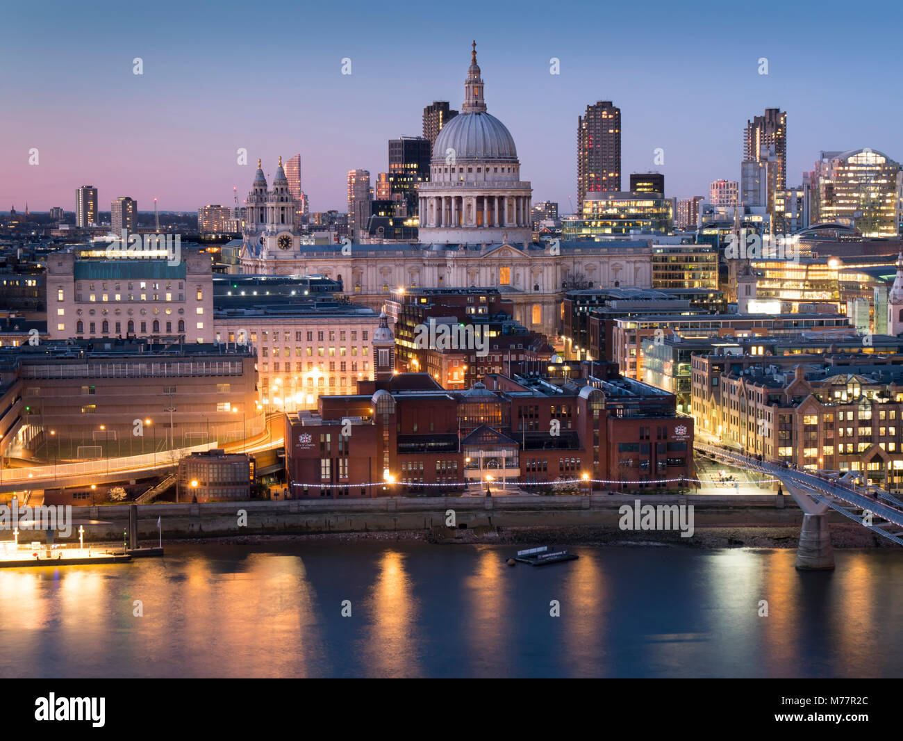 St. Paul's Cathedral and City of London skyline from Tate Switch at dusk, London, England, United Kingdom, Europe Stock Photo