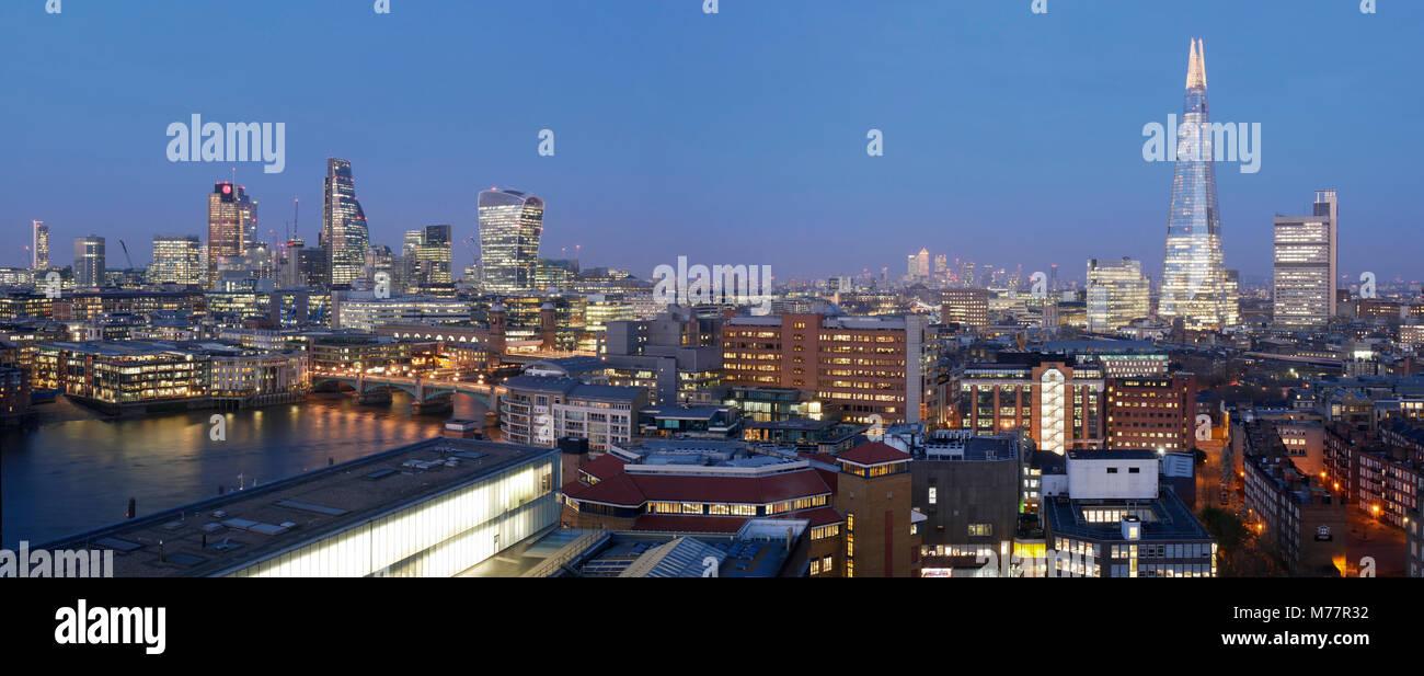 City Square Mile and Shard panorama at dusk, London, England, United Kingdom, Europe - Stock Image