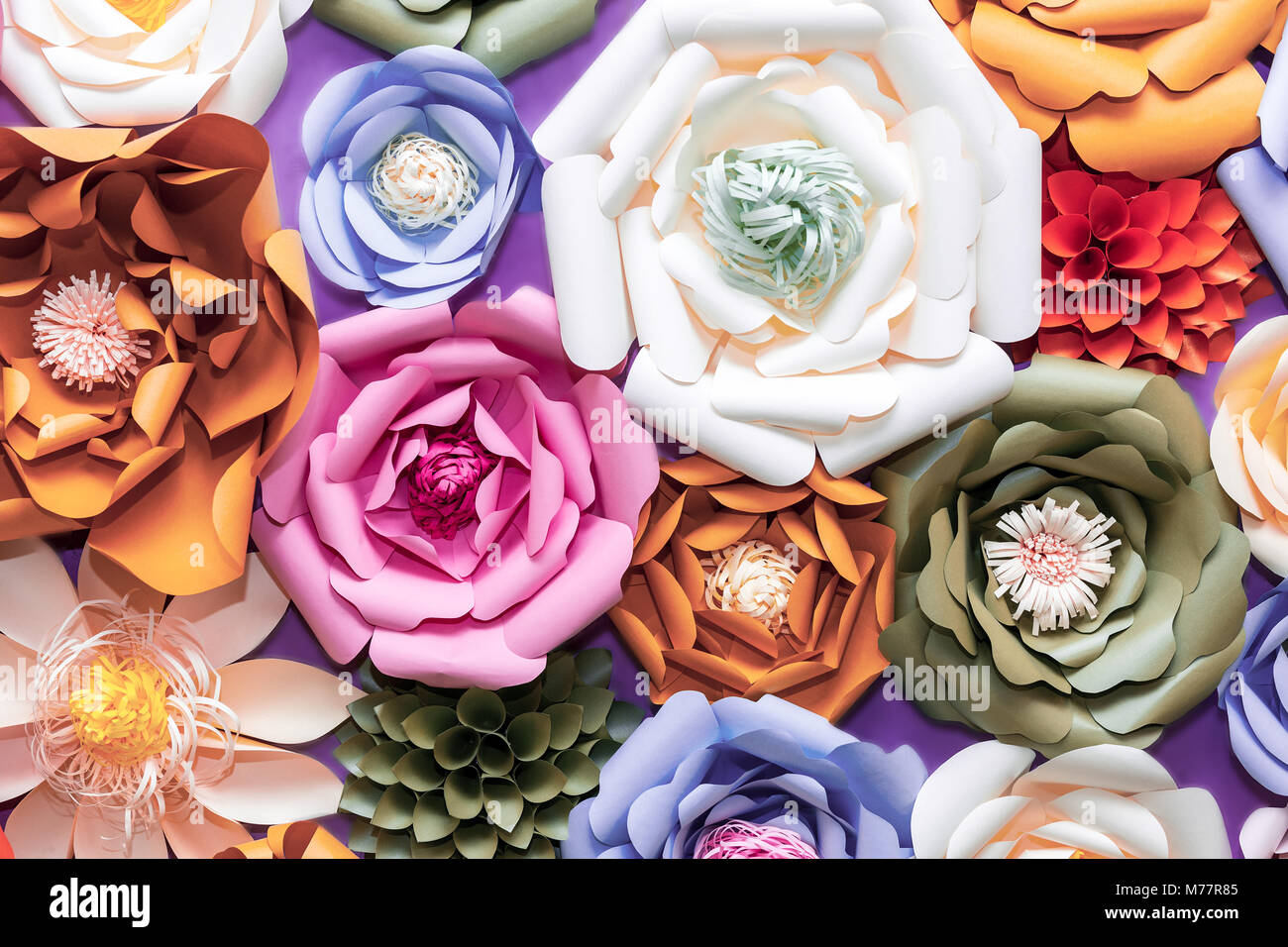 Colorful paper flowers on wall handmade artificial floral stock colorful paper flowers on wall handmade artificial floral decoration spring abstract beautiful background and texture mightylinksfo