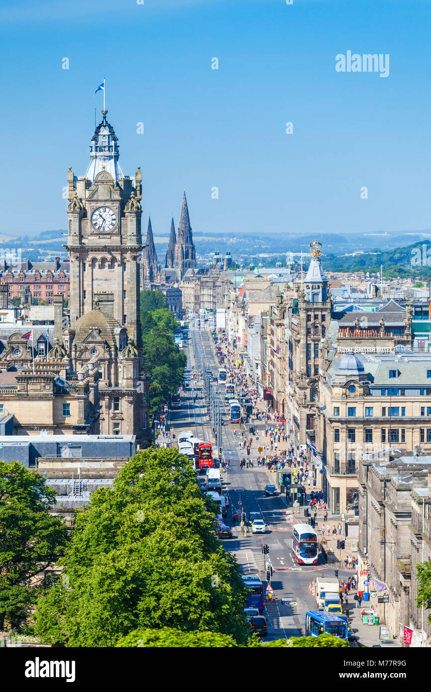 Busy traffic on Princes Street, city centre and Edinburgh skyline, Edinburgh, Midlothian, Scotland, United Kingdom, - Stock Image