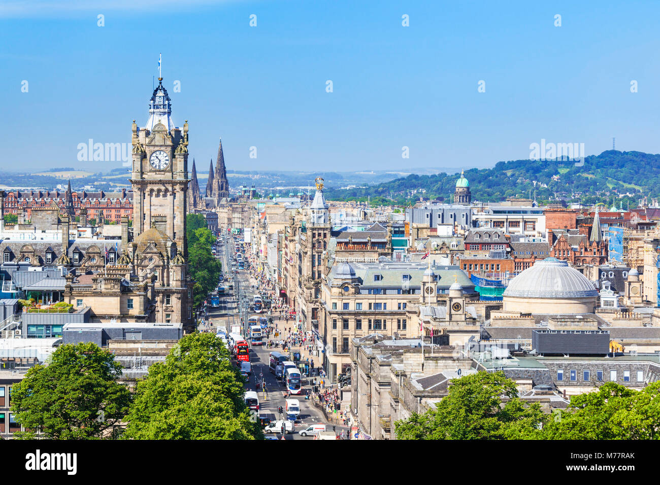 Busy traffic on Princes Street, Edinburgh city centre and skyline, Edinburgh, Midlothian, Scotland, United Kingdom, - Stock Image