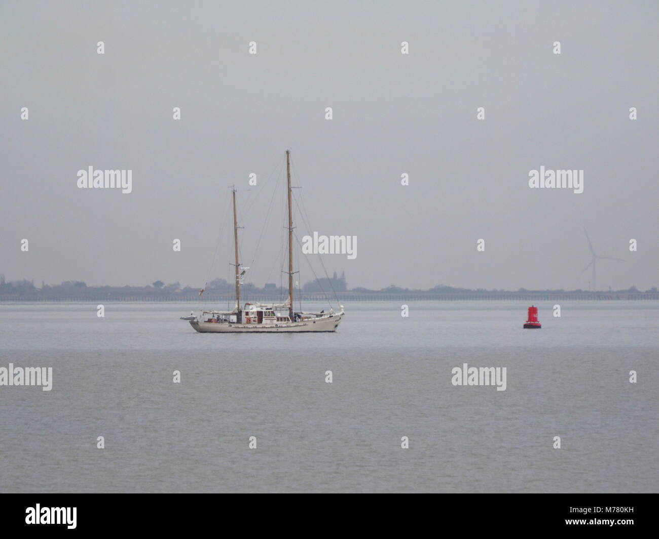 Sheerness, Kent, UK. 9th March, 2018. UK Weather: an overcast and calm morning in Sheerness. The Belgium twin masted Stock Photo
