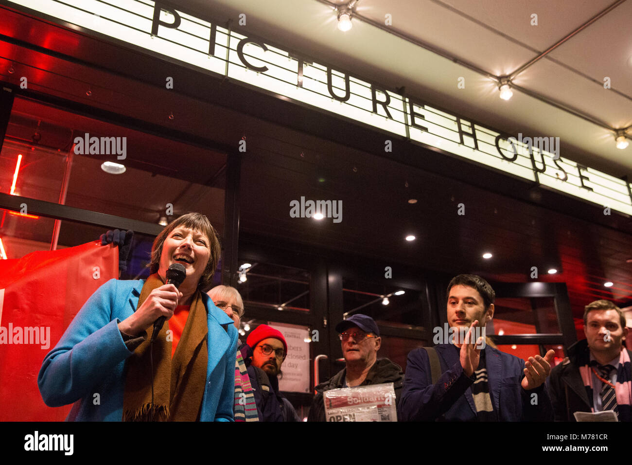 London, UK. 8th March, 2018. Frances O'Grady, General Secretary of the TUC, addresses cinema workers on their - Stock Image