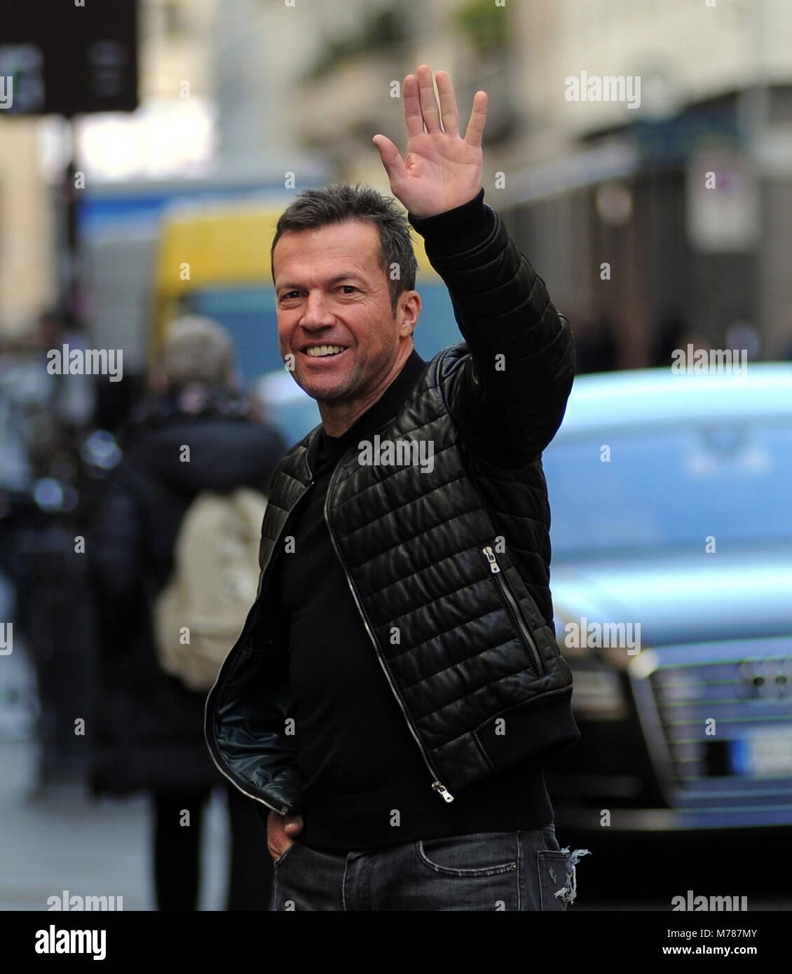 """Milan, Lothar Matthaus at lunch in a restaurant in the center with a friend Lothar Matthaus, former champion of Inter and of the national team of Germany as well as coach, arrives in the center to participate in the 110th anniversary of the INTER foundation, a team in which he has played from 1988 to 1992, winning also a Scudetto. In the afternoon he took the opportunity to walk around the center, also going to lunch at the """"SALUMAIO DI MONTENAPOLEONE"""" together with a friend. Stock Photo"""