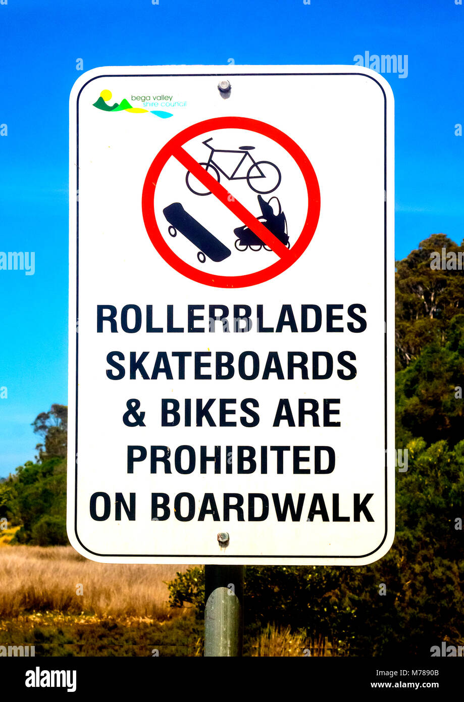 Sign prohibits bikes and other forms of transport on boardwalk - Stock Image