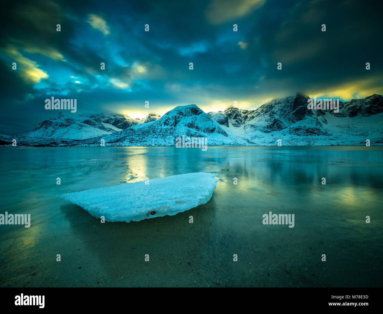 Winter scene from Lofoten Norway - Stock Image