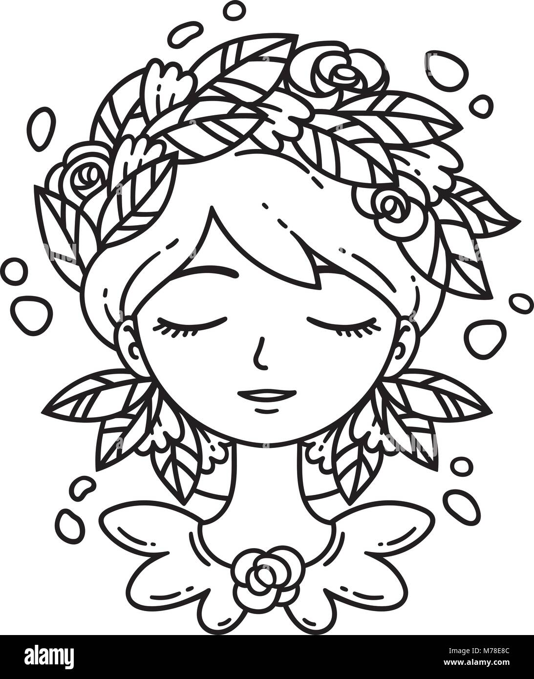 Girl with flower in hair. Vector illustration. Coloring page Stock ...