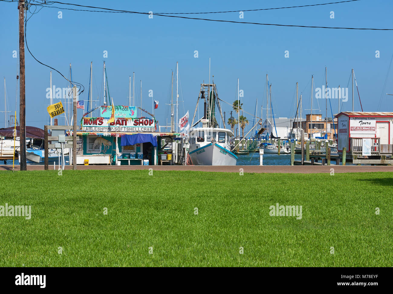 Part of the Waterfront view at Rockport on the Texas Coast, on a bright and breezy Summers day, with the Yachts - Stock Image
