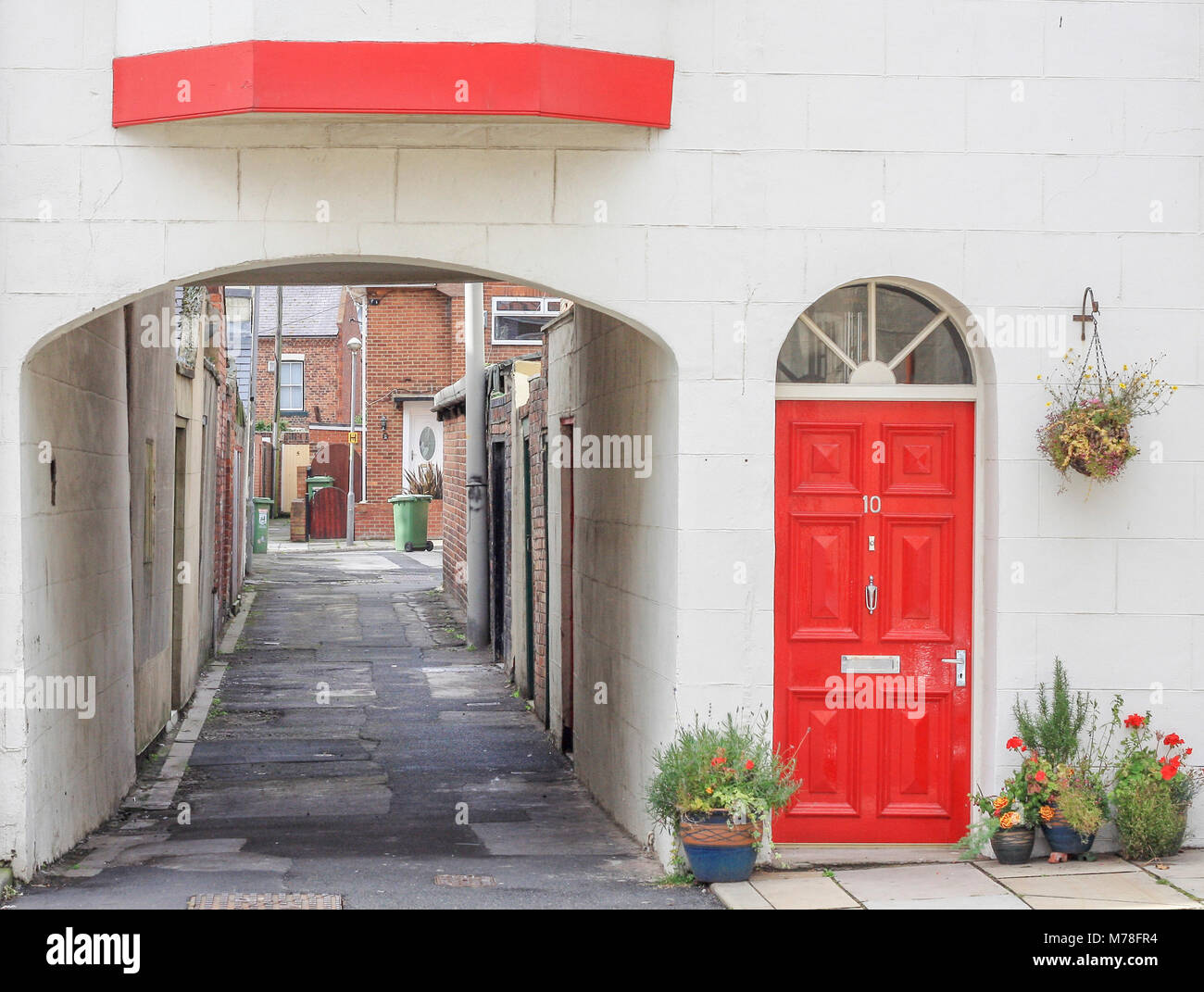 Terraced House With Red Door Stock Photos Terraced House With Red