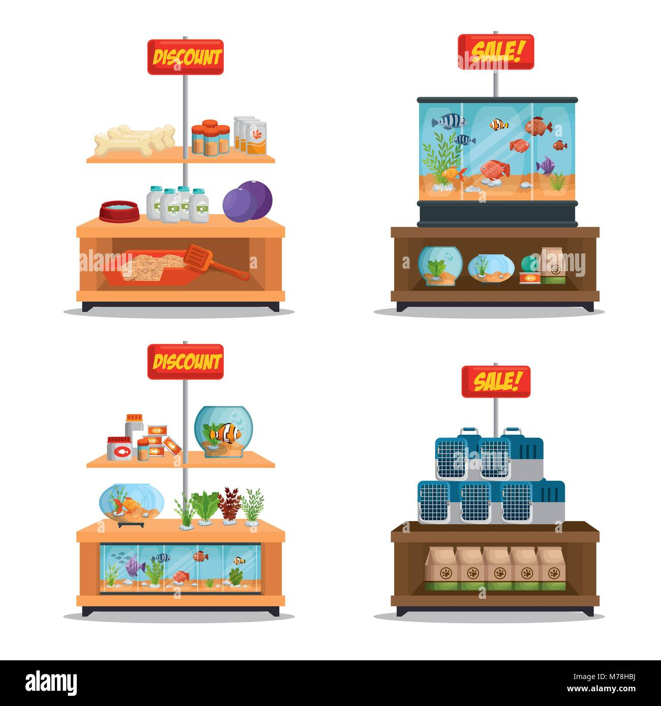 veterinary store shelvings set vector illustration design - Stock Image