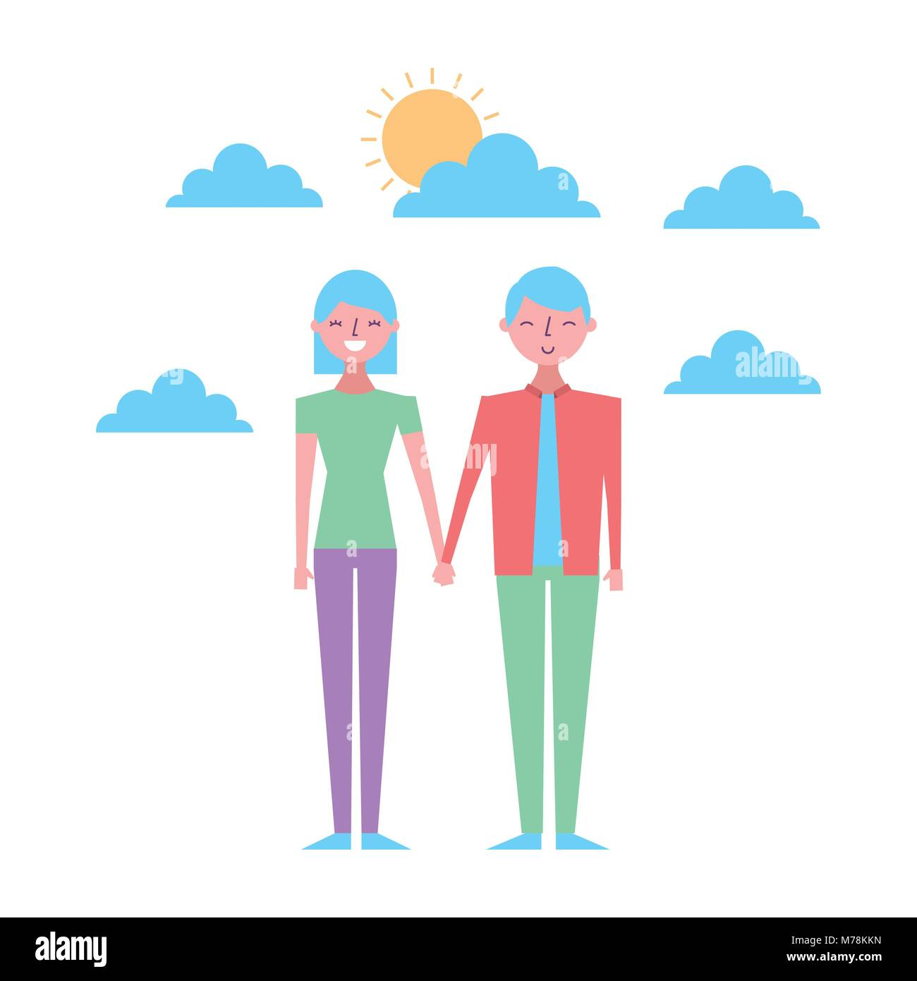 cartoon man and woman standing and holding hands at evening time. On the background sunset and stars over the sea. - Stock Vector