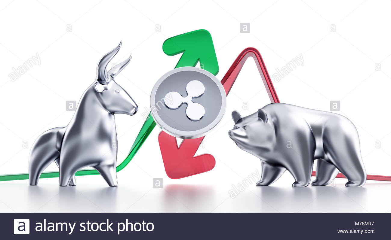 Bullish And Bearish Trends Of Ripple Coin - Stock Image