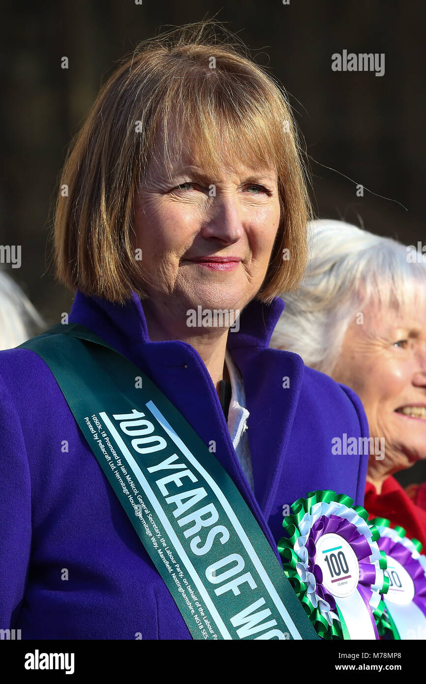 Labour Party launches a yearlong campaign outside Parliament to celebrate the centenary of women's suffrage and - Stock Image