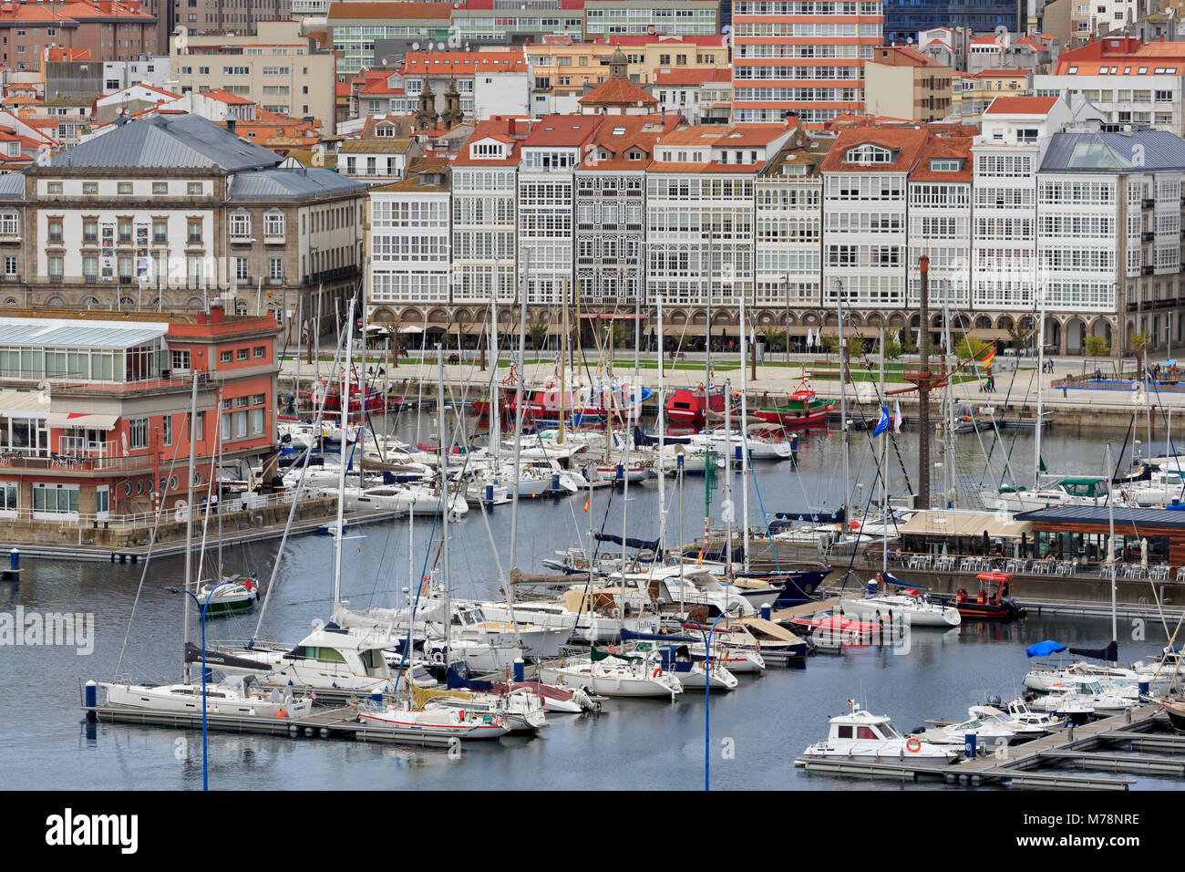 Yacht Marina, La Coruna City, Galicia, Spain, Europe - Stock Image