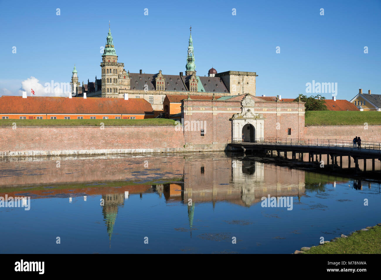 View over moat to entrance gate of Kronborg Castle used as setting for Shakespeare's Hamlet, Helsingor, Zealand, - Stock Image
