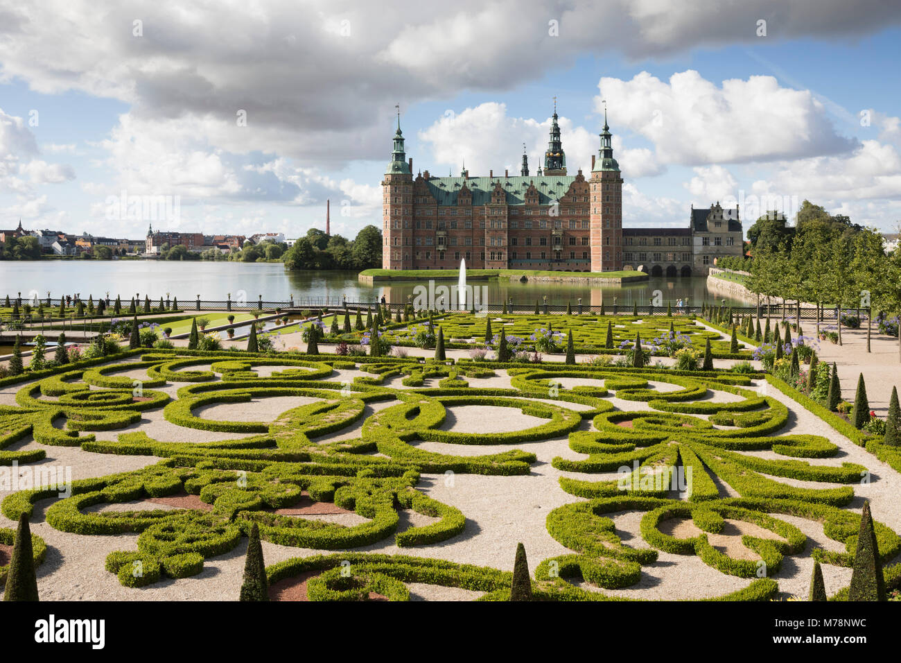 Frederiksborg Slot Castle and the Baroque garden, Hillerod, Zealand, Denmark, Scandinavia, Europe - Stock Image