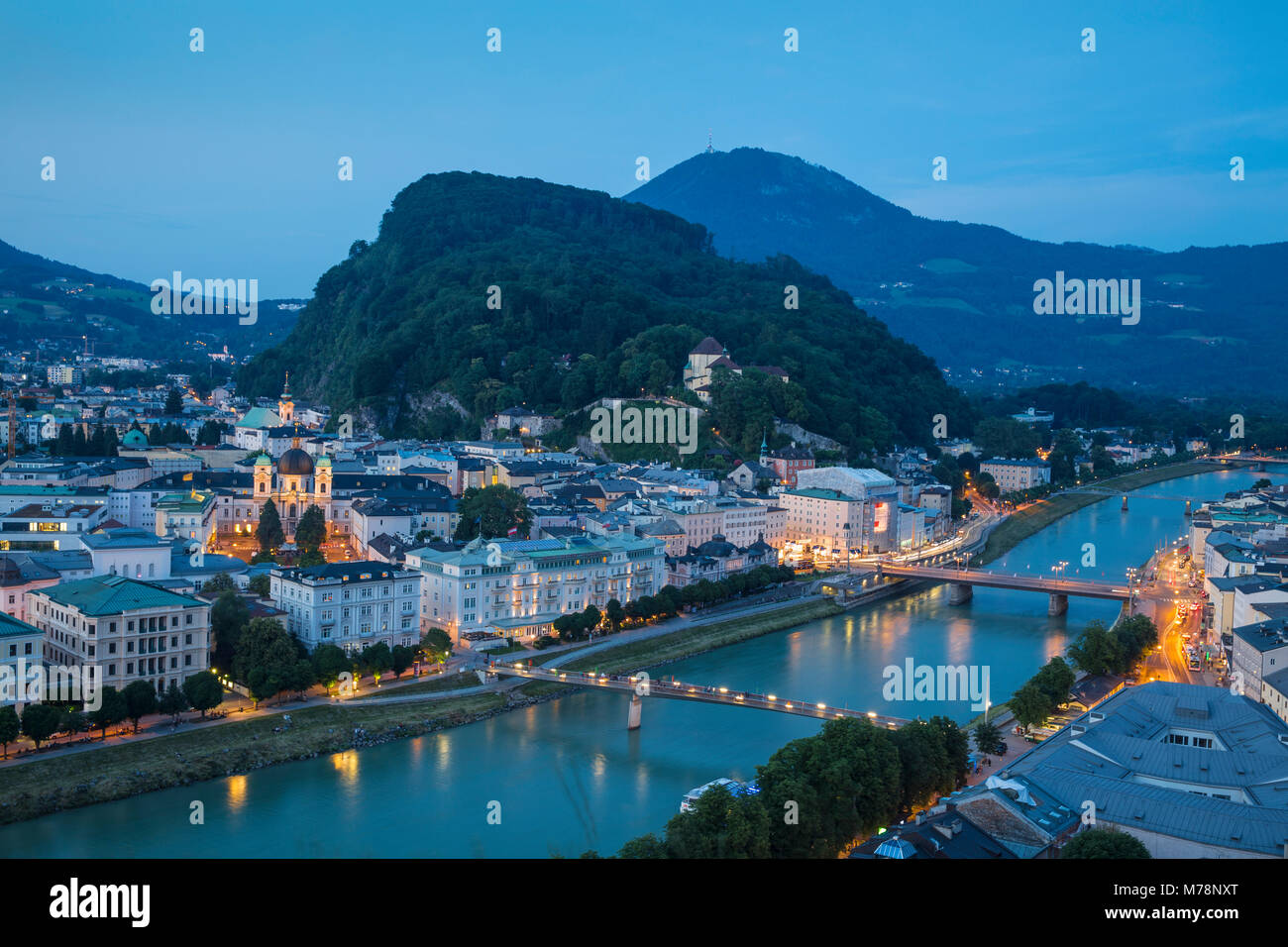 View of Salzach River with The Old City to the right and the New City to the left, Salzburg, Austria, Europe Stock Photo