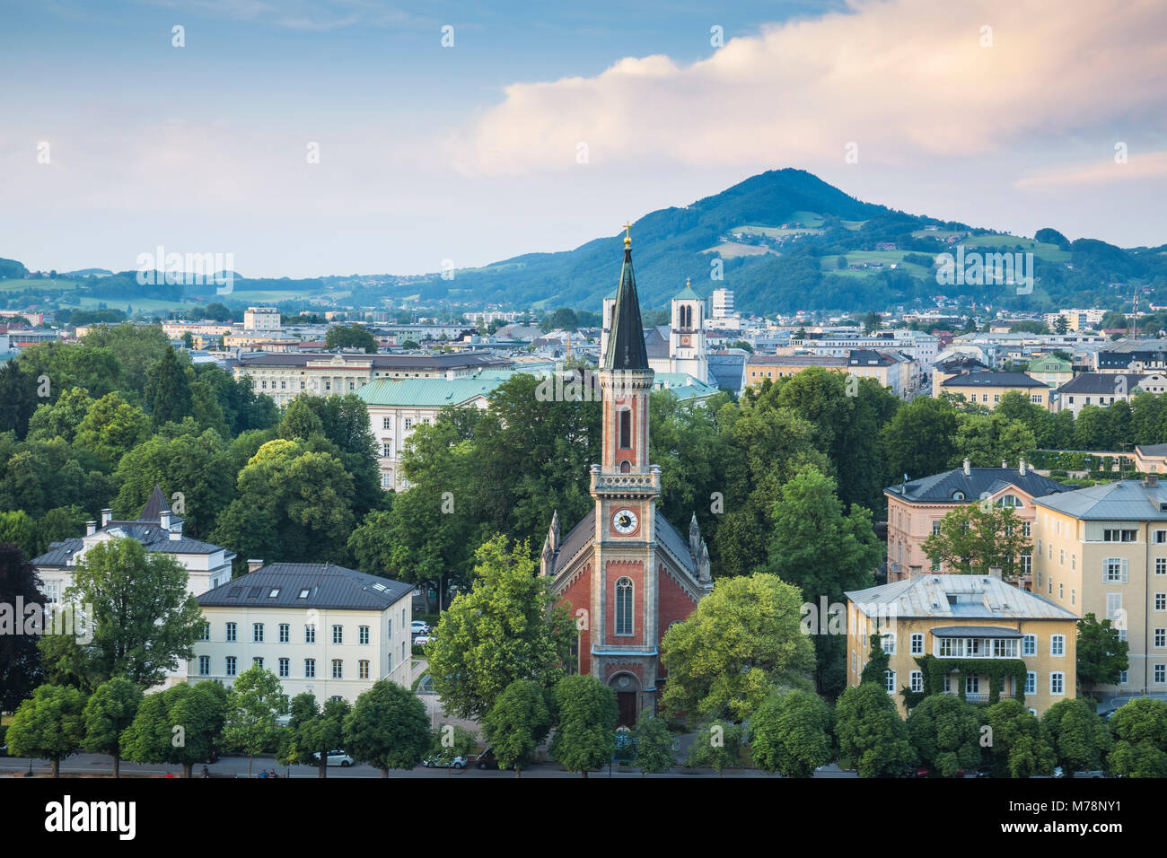 View of Protestant Church of Christ, Salzburg, Austria, Europe - Stock Image
