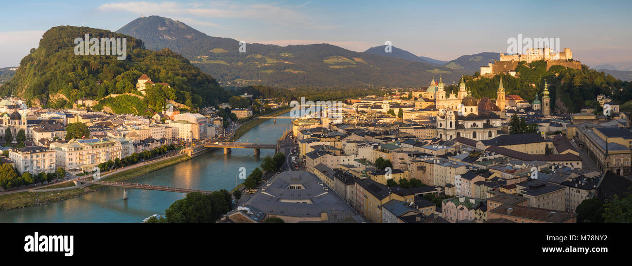 View of Salzach River, The Old City with Hohensalzburg Castle to the right and the New City to the left, Salzburg, - Stock Image
