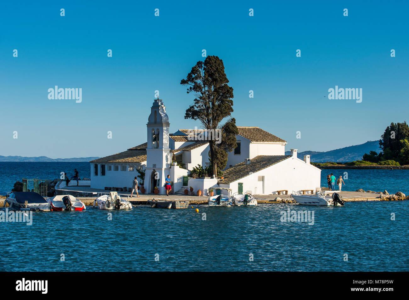 Vlacherna Monastery, Kanoni, Corfu, Ionian Islands, Greek Islands, Greece, Europe - Stock Image