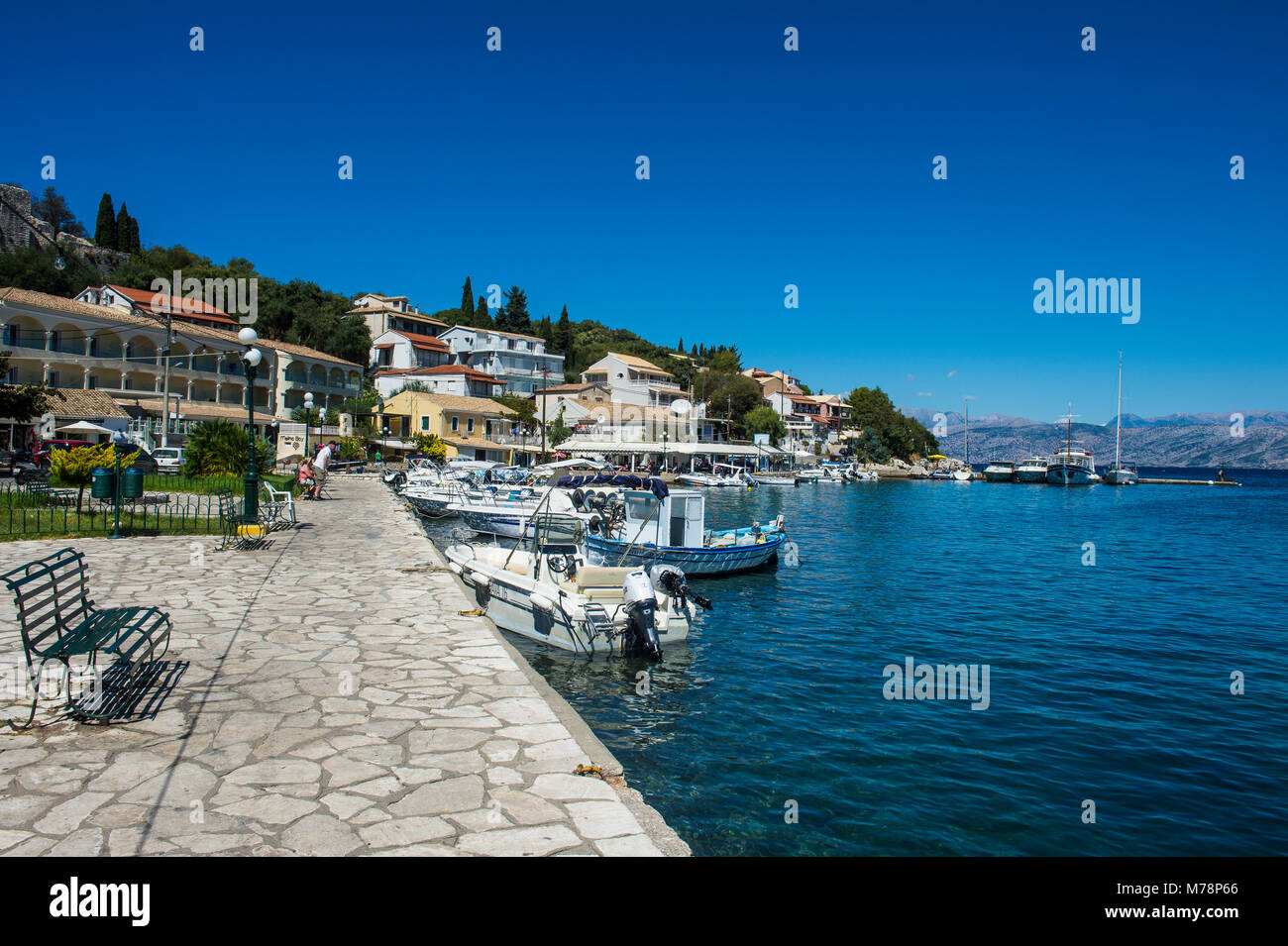 Harbour of Kassiopi, northern Corfu, Ionian islands, Greek Islands, Greece, Europe Stock Photo