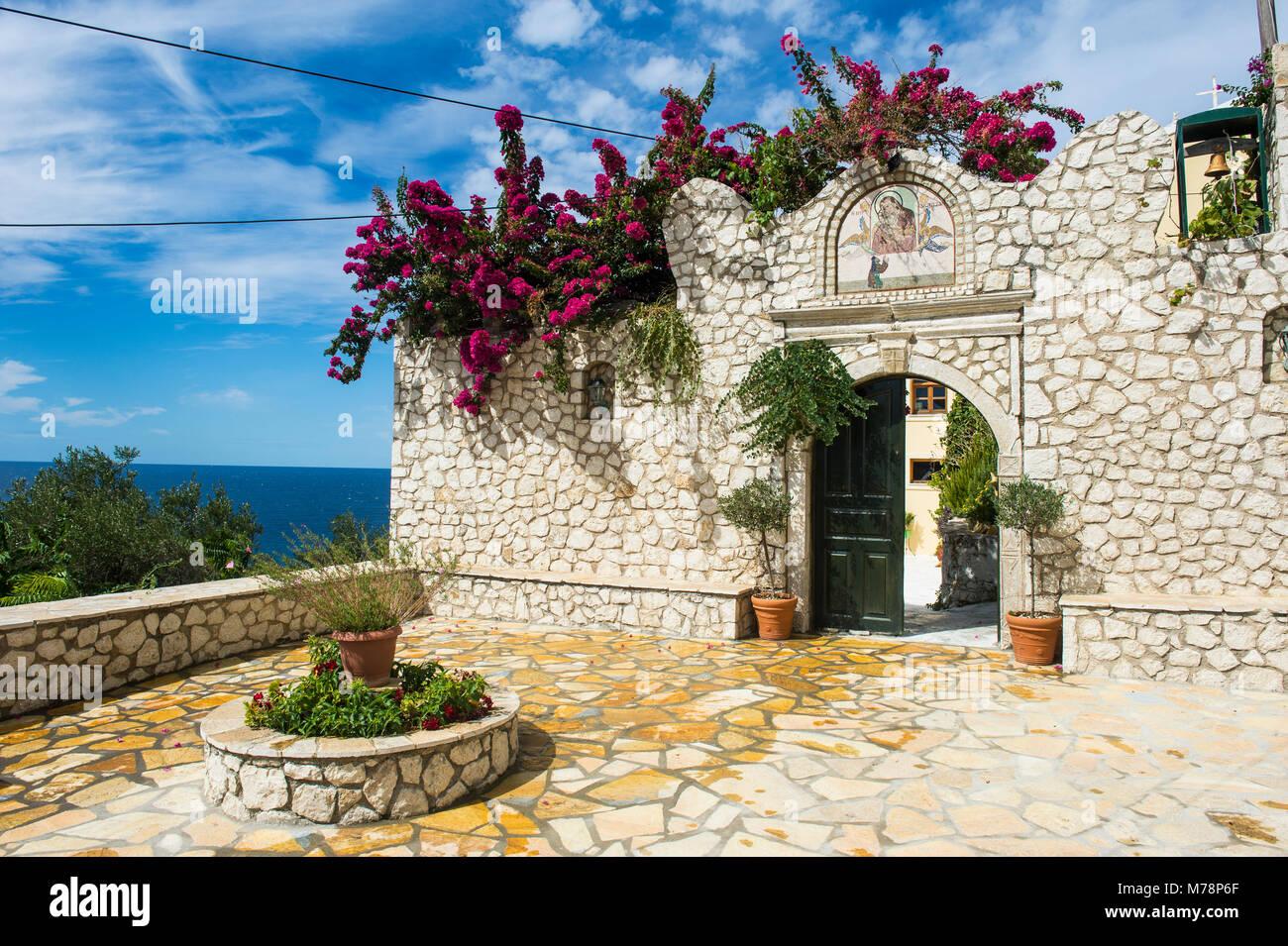 Monastery of Panagia Mirtiotissa, Corfu, Ionian islands, Greek Islands, Greece, Europe - Stock Image
