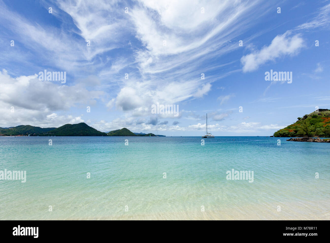 The beautiful clear water at Rodney Bay, St. Lucia, Windward Islands, West Indies Caribbean, Central America Stock Photo