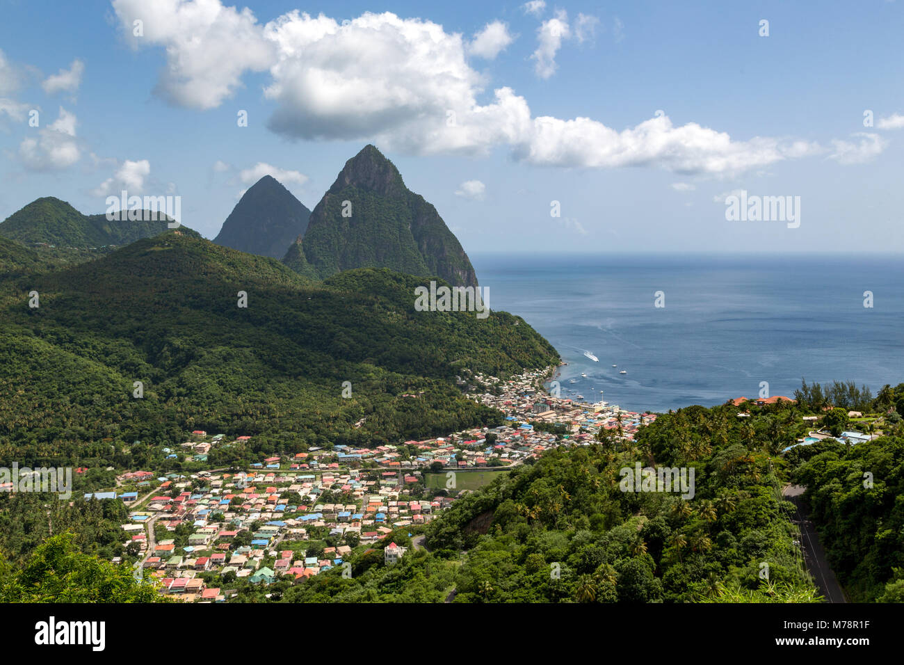 The town of Soufriere with the Pitons, UNESCO World Heritage Site, beyond, St. Lucia, Windward Islands, West Indies - Stock Image