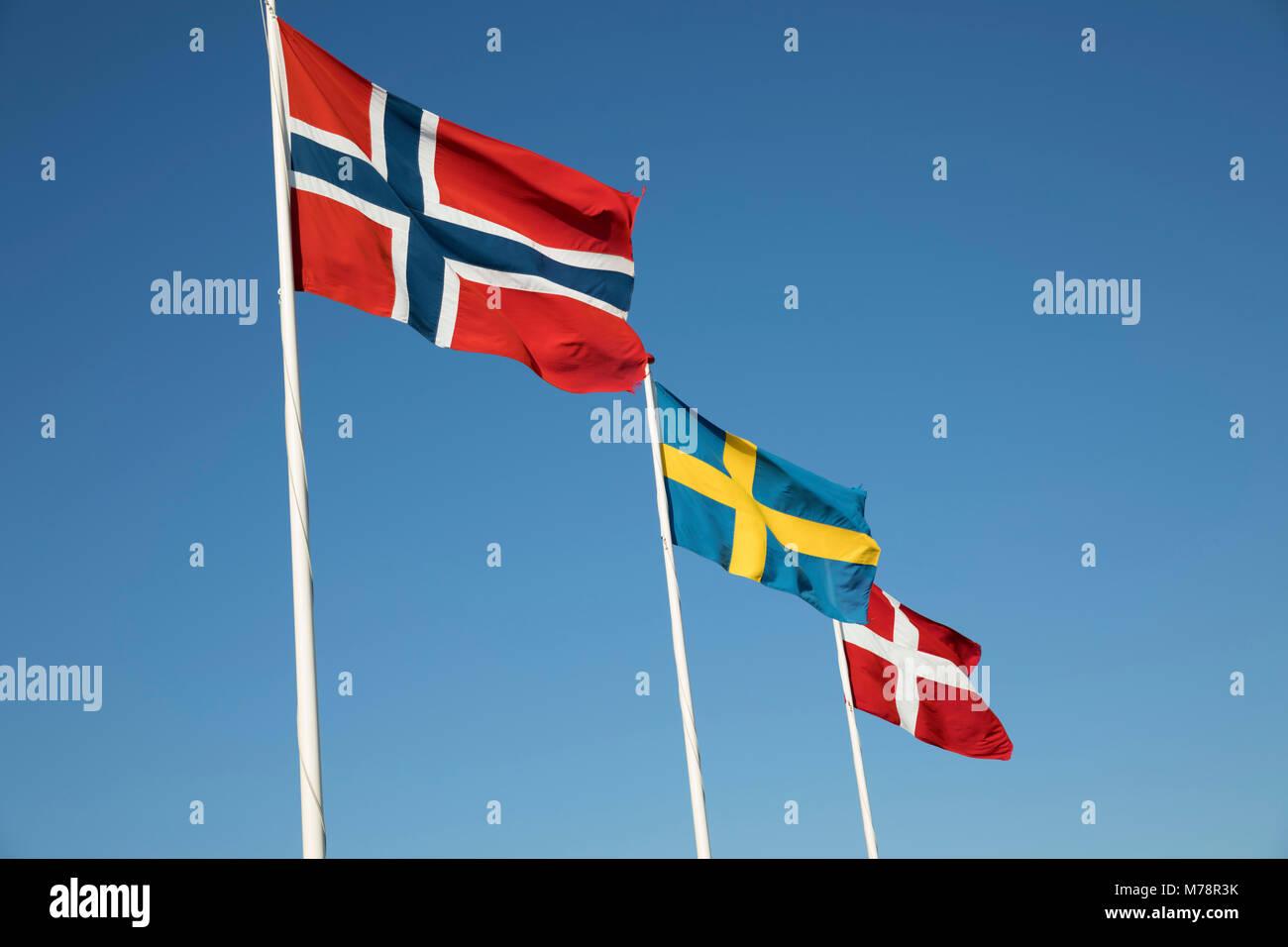Scandinavian country flags against blue sky, Hornbaek, Kattegat Coast, Zealand, Denmark, Scandinavia, Europe - Stock Image