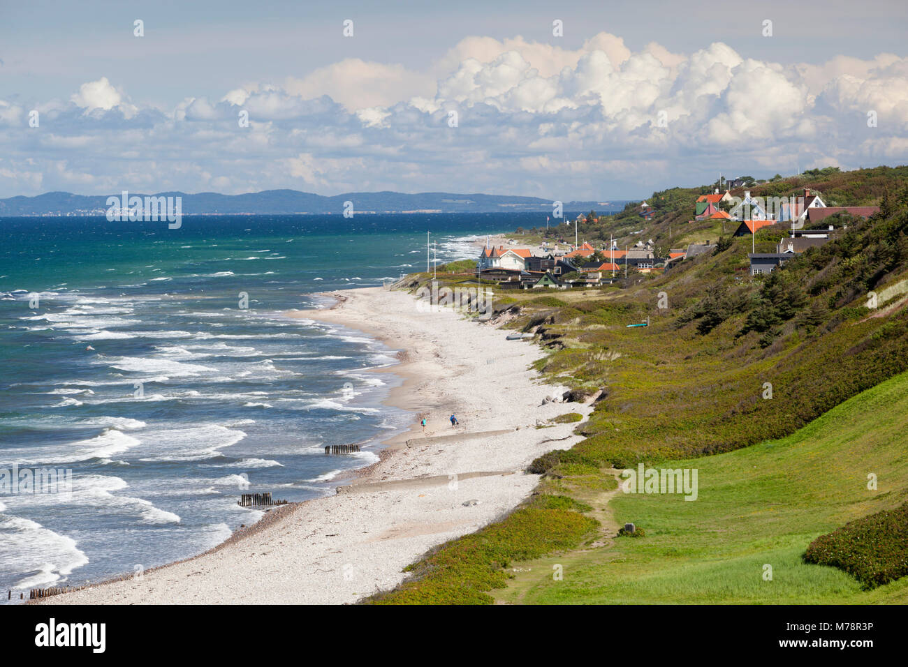 View over Rageleje Strand beach with Swedish coastline in distance, Rageleje, Kattegat Coast, Zealand, Denmark, - Stock Image