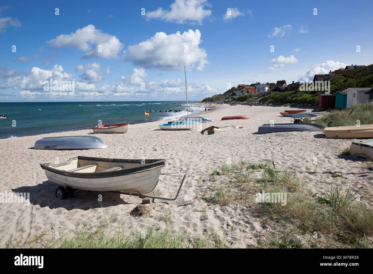 Boats on white sand beach and town behind, Tisvilde, Kattegat Coast, Zealand, Denmark, Scandinavia, Europe - Stock Image