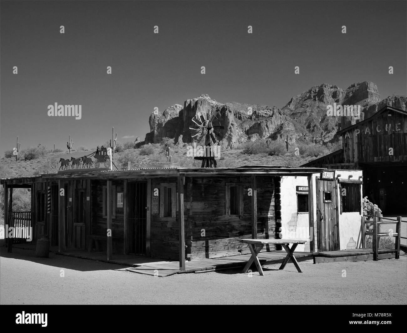 Old Apacheland movie set from the 1940's with Superstition mountain in the background. This was the setting - Stock Image