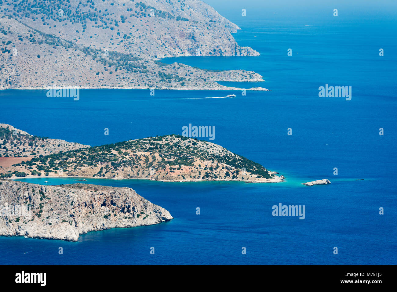 Aerial image of eastern Dodecanese Greek islands Koulondros, Seskli and Xisos in the Mediterranean Sea Stock Photo