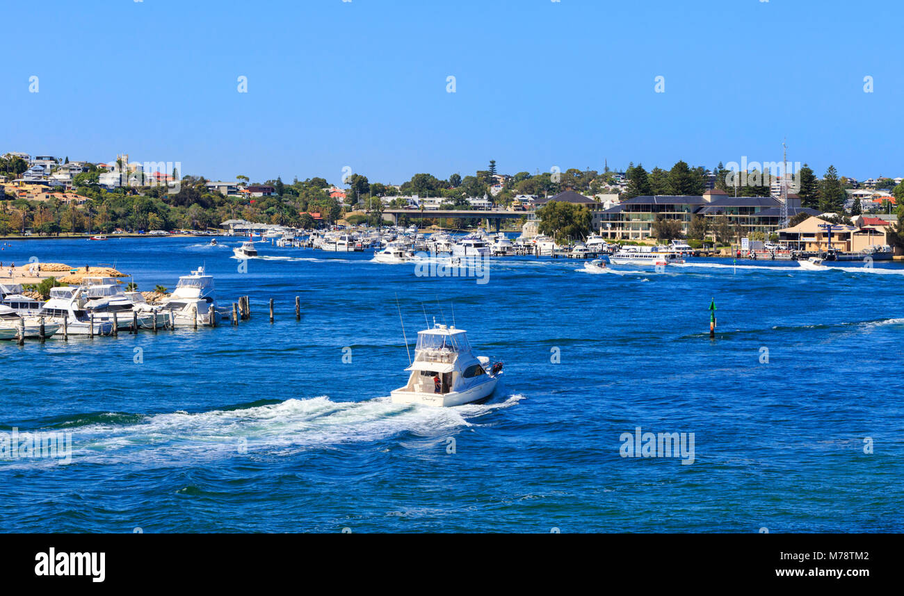 A boat on the Swan River - Stock Image