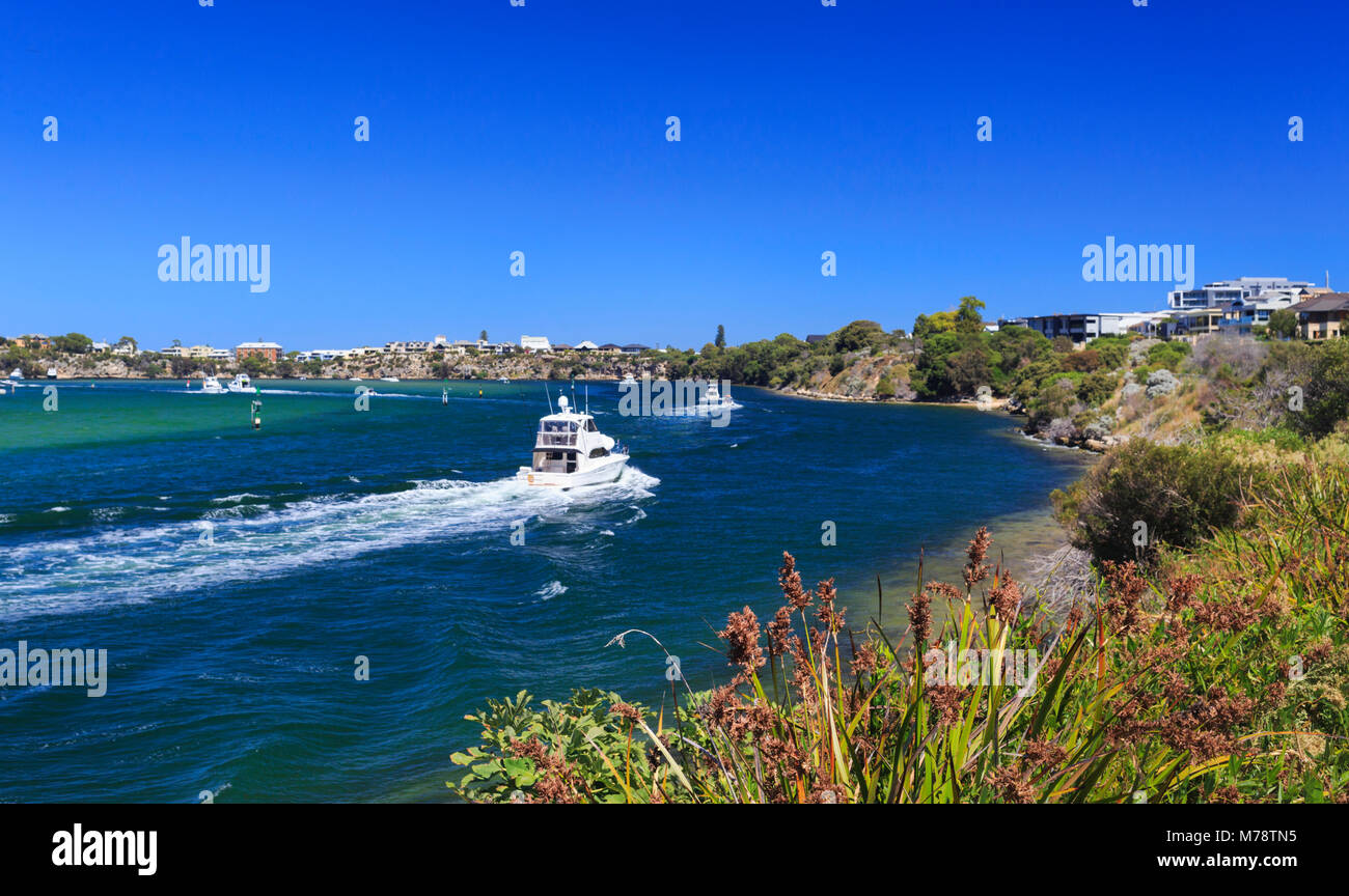 A boat on the Swan River Stock Photo
