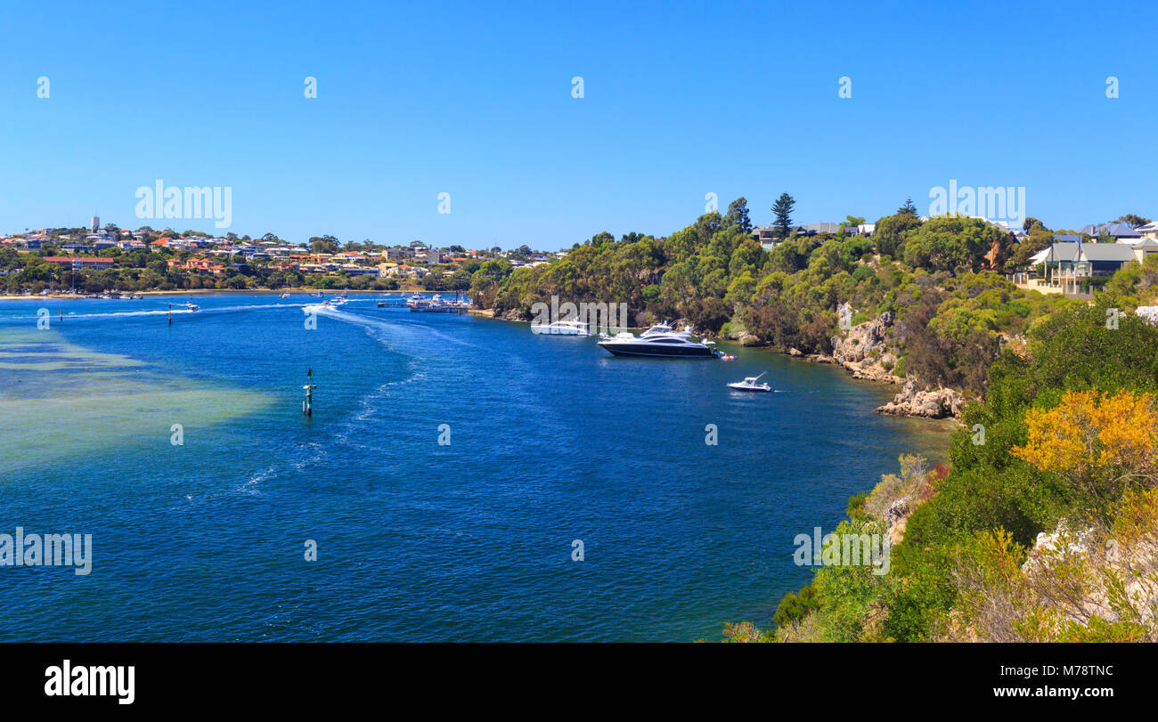 The Swan River between North and East Fremantle. Perth, Western Australia. As viewed from Mosman Park - Stock Image